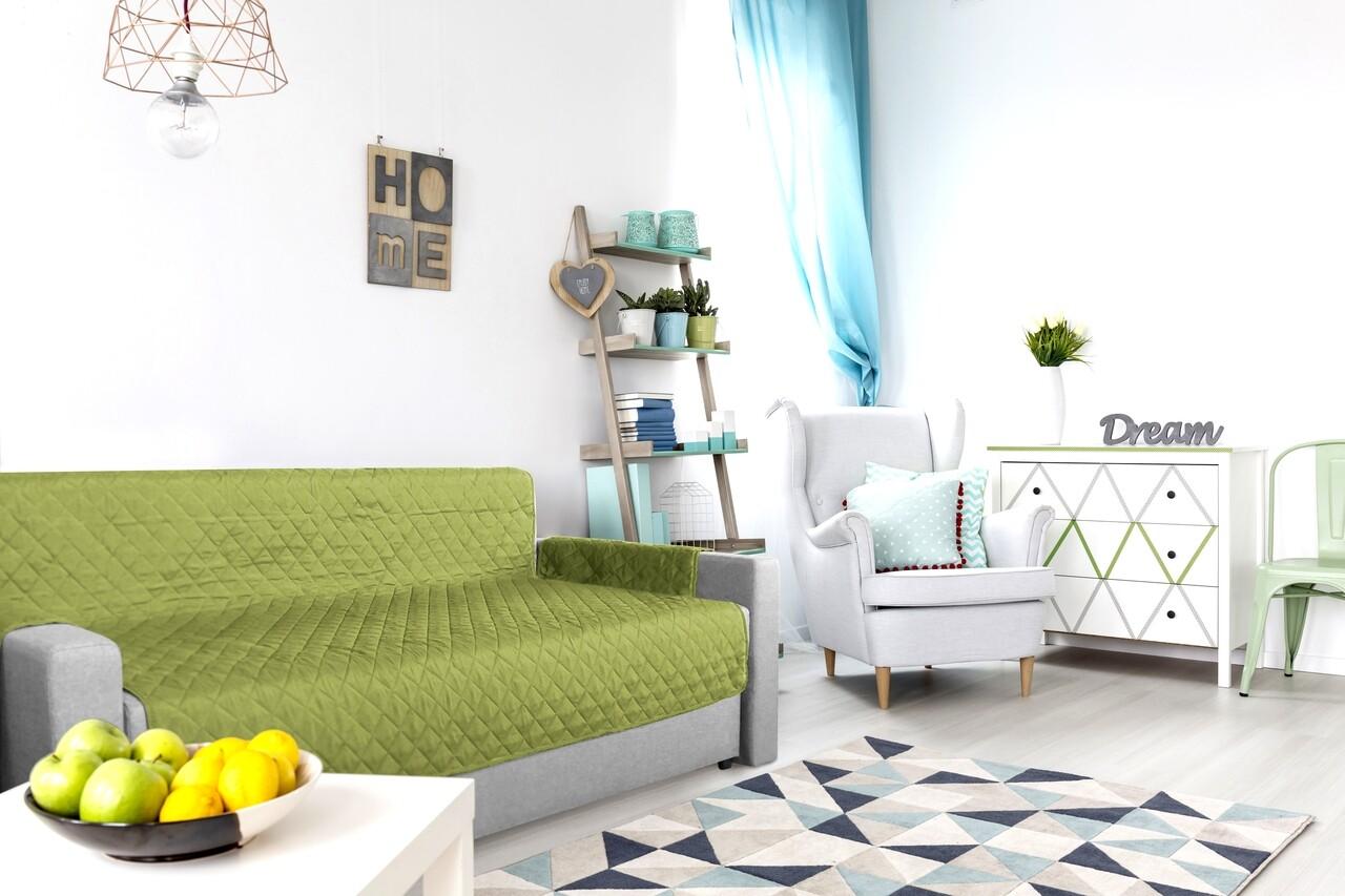 Husa matlasata cu doua fete Alcam pentru canapea 3 locuri Olive/Vanila