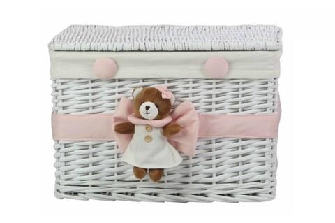 Cos M Pink Bear, Bedora, salcie/material textil, alb/roz