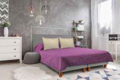 Cuvertura cu 2 fete Alcam, 100% poliester, 220 x 240 cm, Purple/Vanila