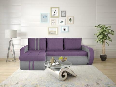 Coltar extensibil Genoa Purple/Grey Stripes 243x141x81 cm cu lada de depozitare
